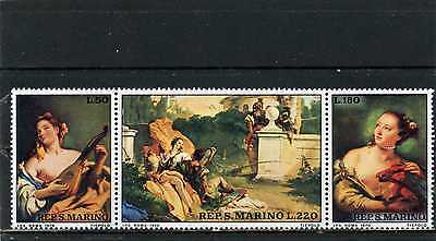 SAN MARINO 1970 Sc#733-735a PAINTINGS BY TIEPOLO STRIP OF 3 STAMPS MNH