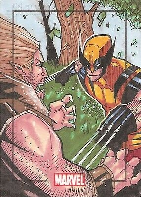 Marvel Heroes & Villains WOLVERINE vs SABRETOOTH sketch by Jeremy Treece