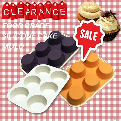 Cupcake Mold Silicone Baking Bakeware Muffin Pudding Mould Round Pan Tray 6 Cups