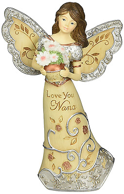 Elements Love You Nana Angel Figurine by Pavilion, 5-1/2-Inch, Holding Flowers,