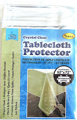 Plastic Tablecloth Protector Clear 52 x 72