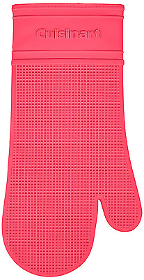 Cuisinart Silicone Heat-Proof Oven Mitt with Quilted Cotton Lining, Raspberry Pi
