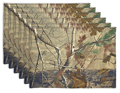 DII 100% Cotton Real Tree Reversible Placemat, Set of 6