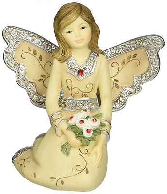 Elements July Monthly Angel Figurine, Includes Ruby Birthstone, 3-Inch