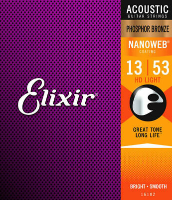 Elixir Nanoweb 13 - 53 Phosphor Bronze Acoustic Guitar Strings - 16182 HD Light