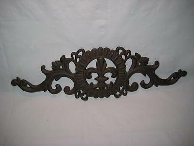 "Rare Vintage Cast Iron Fleur de Lis Door Topper Wall Plaque  ~ 18 1/2"" X 5 1/2"""