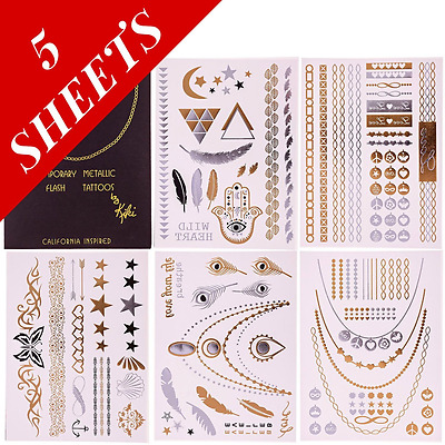 Flash Temporary Tattoos Best Premium Metallic Jewelry Tattoos Armbands, Bracelet
