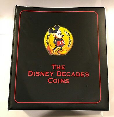 Disney Decades Coin Album Binder 1920-2000 Numbered Spaces For Coins Folder