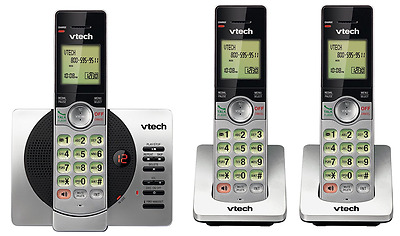 VTech DECT 6.0 Three Handset Cordless Phone with ITAD, CID, Backlit Keypads and