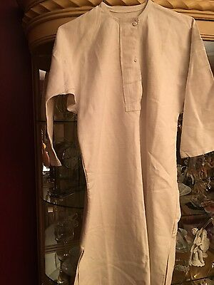 Vintage antique handwoven linen chore work shirt 1890