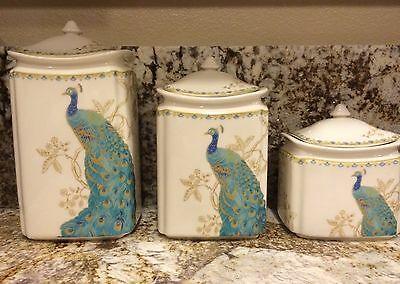 222 Fifth CANISTER SET 3 CANISTERS & LIDS PEACOCK GARDEN BLUES GREENS GOLD