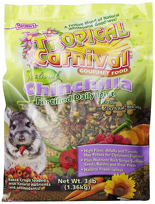 F.M. Brown Tropical Carnival Natural Chinchilla Food, 3-Pound Package