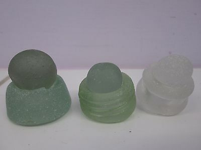 3 Seaglass Bottlenecks and Codd Marbles From NW England Craft Jewellery Display