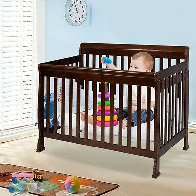 Coffee Pine Wood Baby Toddler Bed Convertible Crib Bedroom Kids Safety Nursery