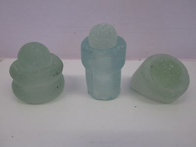 3 NW English Seaglass Bottlenecks and Codd Marbles Craft Jewellery Display