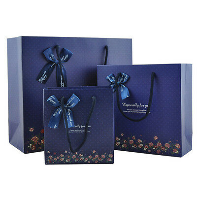 Blue Bowknot Multi-size Gift Paper Bag Birthday Stick Handle Bag Lot Wholesale