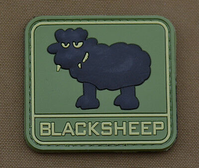 """PVC / Rubber Patch """"Blacksheep"""" with VELCRO® brand hook"""