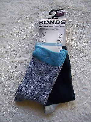 BNWT Boy's Bonds 2 Pack Blue, Grey & White Stay On Socks Shoe Size 2-4