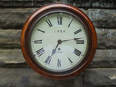 Antique Mahogany Cased Single Fusee LNER Railway Clock