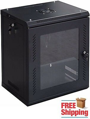 12U Data Tower Rack Mount Network Server Case Cabinet Locking Fan Wall Glass