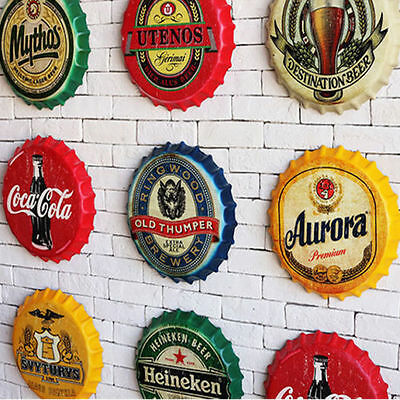 Retro Beer Bottle Caps Tin Metal Sign Poster Plaque Bar Pub Club Wall Home Decor