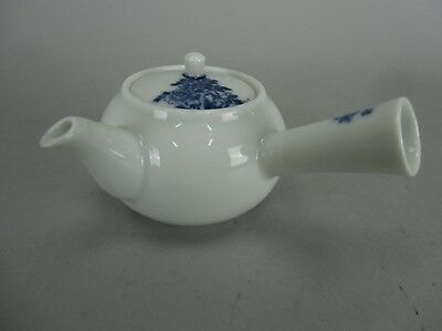 TB773 Japanese Teapot Handmade Porcelain Sometsuke Child Flower Vintage Kyusu