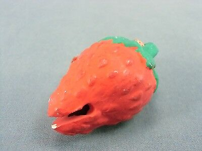 DR109 Japanese Clay Bell Ceramic  Hand Made Ichigo Strawberry Vtg Dorei Yakimono