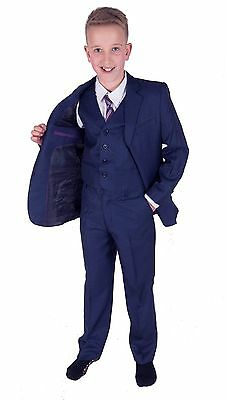 Cinda Blue 5 Piece Boy Suits Boys Wedding Suit Page Boy Party Prom 2-12 Years