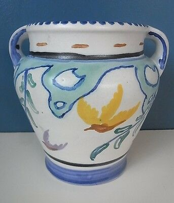 "LARGE VINTAGE HONITON HANDPAINTED 2 HANDLED URN or VASE ""BIRDS"" 6 1/4"" Tall VGC"