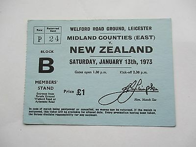 Midland Counties East V New Zealand - Rugby Football Match Ticket Leicester 1973