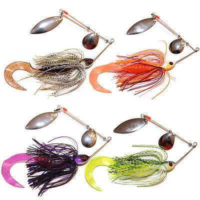 4x 1/2oz Soft Plastic Spinnerbaits Spinner Bait Fishing Lures Buzzbait COD BASS