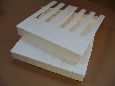 Piano Key Tops with Fronts -  Keytops - White - Full Set for Upright or Grand