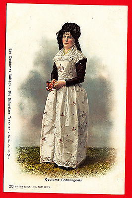 A7) Litho-Ak Frau in Tracht Costumes Fribourgeois