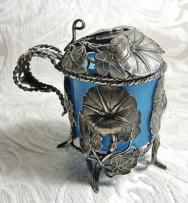 Victorian Silver Plate Morning Glory Embossed Beaker Pot Holder with Blue Glass