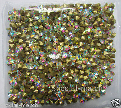 New Crystal AB Rhinestones Point back resin gem Glass Chatons Rainbow rhinestone