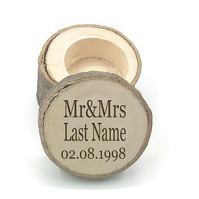 Rustic Wedding Ring Box Engagement Personalised Name Date Mr Mrs Wooden Gifts