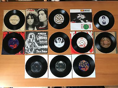 "T-Rex + Marc Bolan Joblot 10 X Uk 7"" Vinyl Singles - Pro Cleaned & Play Great!!"