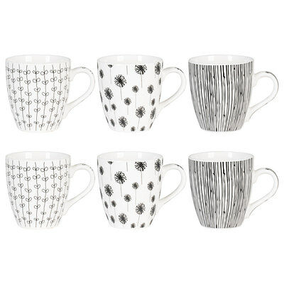 Coffret 6 Tasses Kashmir Noir Assorties