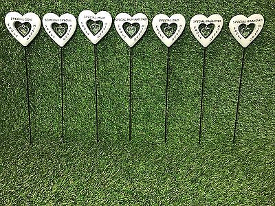 Diamante Heart Memorial Stick, Grave Side Remembrance Tribute Spike -Asst Names