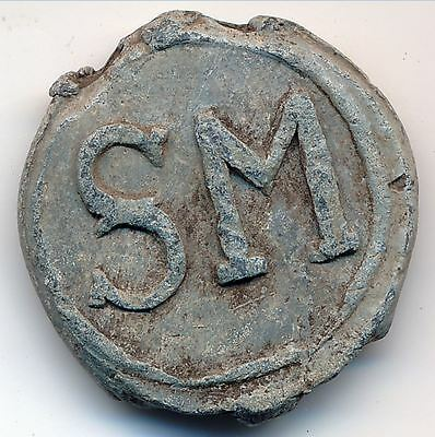 18th Century Sweden Interesting Swedish Old Lead Seal Marked SM 21 mm