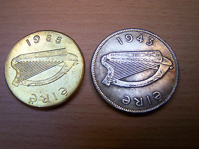 Read the Description 1985 and 1943 Irish Coins Ireland Eire ..