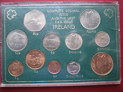 Ireland 1960-s 1970-s Complete Decimal & the Last LSD Issue UNC 11 coin set #2