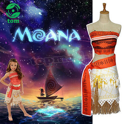 Boho Cosplay Disney Moana Princess Girls Fancy Deluxe Dress Costume Kids Womens
