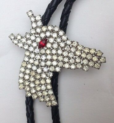 Rhinestone Horse Head Western Style Bolo Tie Vintage Classic American Boot Lace
