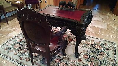 Antique Heavily Carved Asian Desk And Chair,  Late 1800 Early 1900
