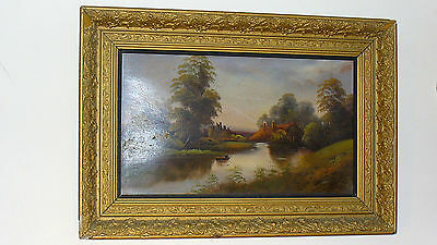 """Antique Original Oil On Board Painting In Gold Rococo Frame 22"""" X 32"""""""
