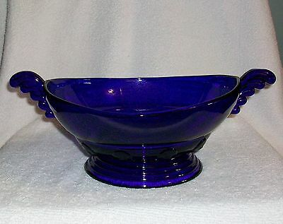 New Martinsville Glass Cobalt Blue Console Bowl with Wings 1932-40
