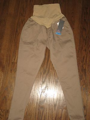 Motherhood Oh Baby maternity womens large pants tan over belly skinny