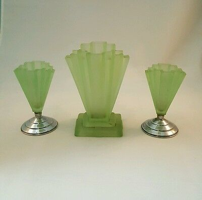 Art Deco Bagley Grantham 3 Piece Set in Frosted Green Vases
