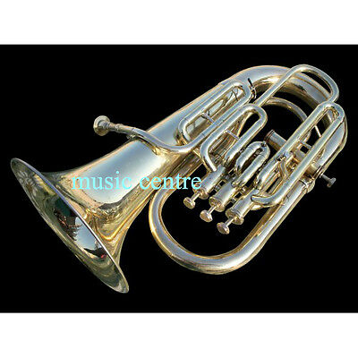 Horn Euphonium 4 Valve Of Pure Brass In Brass Polish +Free Case + Free Shipping